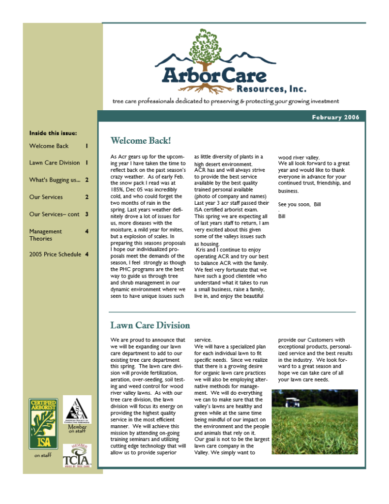 screenshot of 2005 annual arborcare resources newsletter