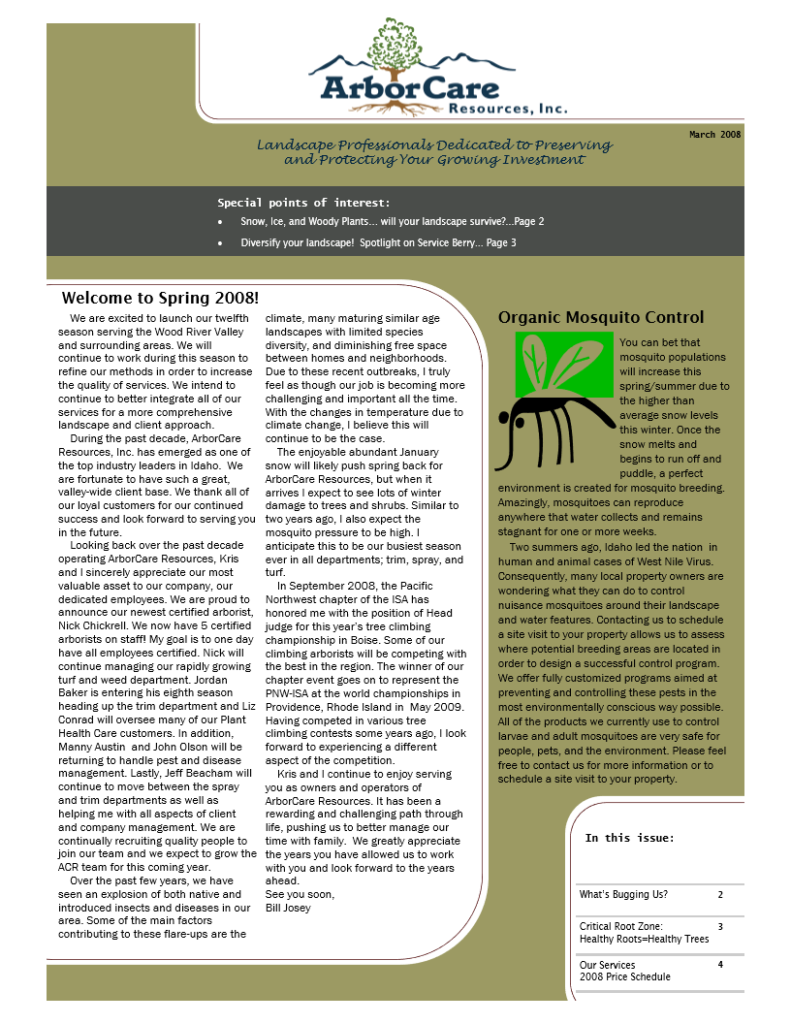 screenshot of 2008 annual arborcare resources newsletter