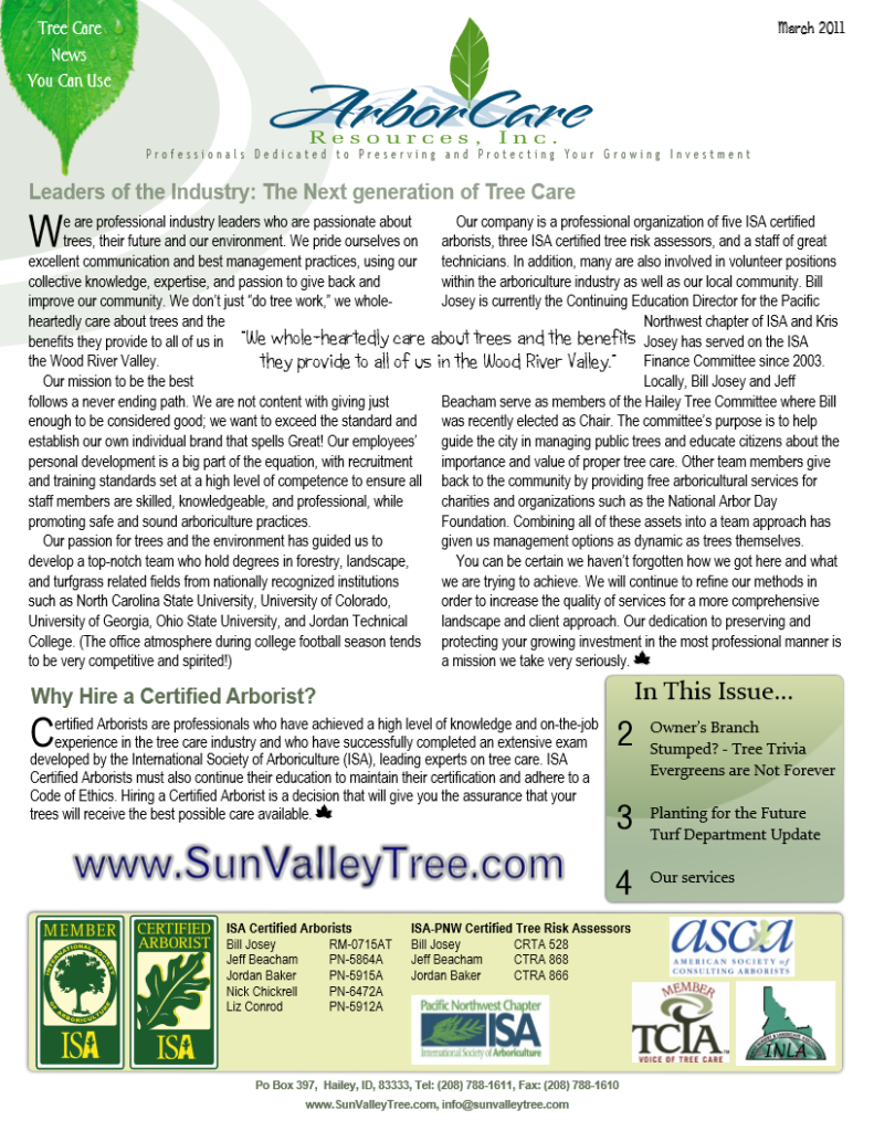 screenshot of 2011 annual arborcare resources newsletter