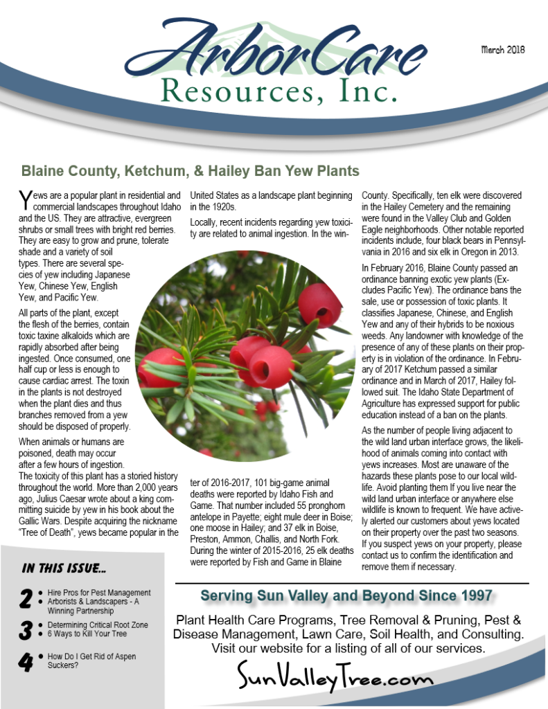 screenshot of 2018 annual arborcare resources newsletter