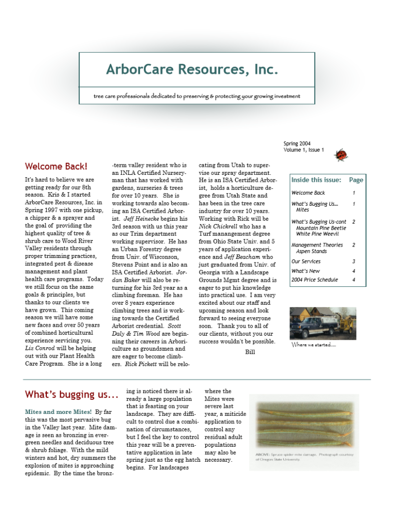 screenshot of 2004 annual arborcare resources newsletter