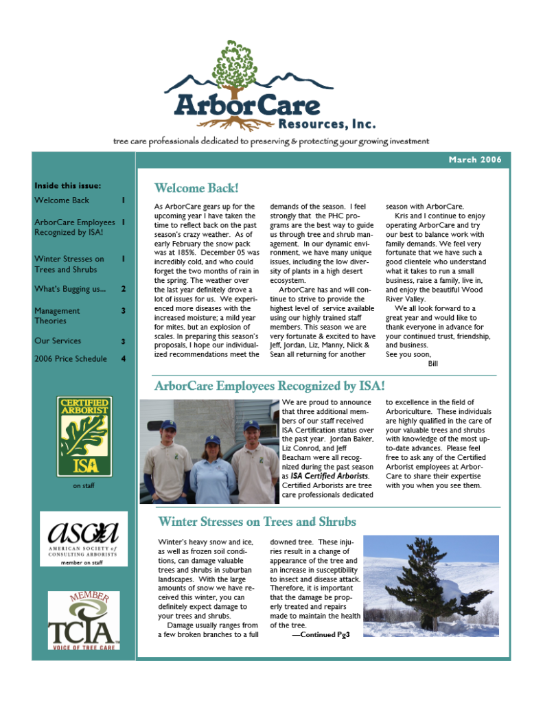 screenshot of 2006 annual arborcare resources newsletter