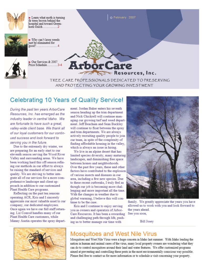 screenshot of 2007 annual arborcare resources newsletter