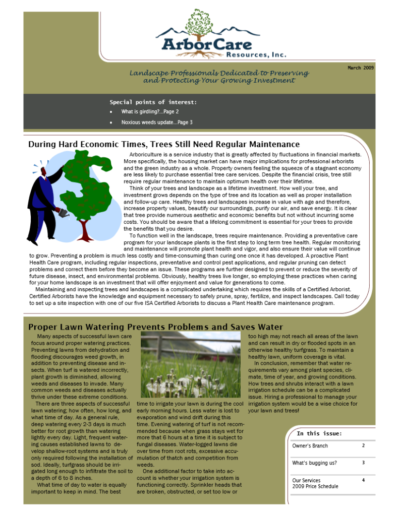 screenshot of 2009 annual arborcare resources newsletter