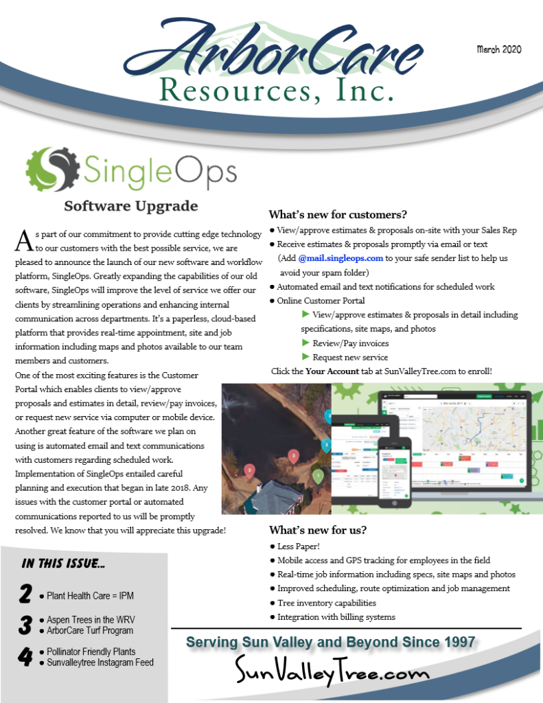 screenshot of 2020 annual arborcare resources newsletter